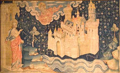 新しいエルサレム図 14世紀のタペストリー