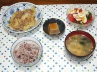 5/14 夕食 豚肉とキャベツのしょうが蒸し煮、トマトときゅうりと玉子のサラダ、胡麻豆腐、キャベツと豆腐と干しえのきの味噌汁