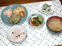 5/16 夕食 海老パオズ、枝豆とひじきのさつま揚げ、明太ポテトサラダ、ほうれん草の白和え、オイキムチ、もやしと豚肉と干しエノキの味噌汁、雑穀ごはん