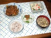 5/21 夕食 マーボーナス、冷奴、サラダ、マイタケと干しエノキの味噌汁、雑穀ごはん
