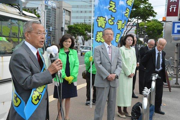 20150522大竹候補「平和主義にもとづく県政をやっていかなければ県民の命を守れない」 と訴えた