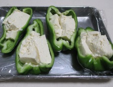 ピーマンの豆腐詰めチーズ焼き 調理②