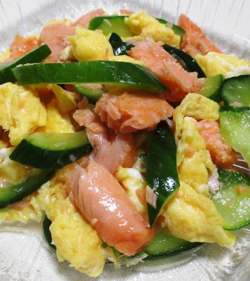 焼き鮭と炒り卵の三倍酢 B