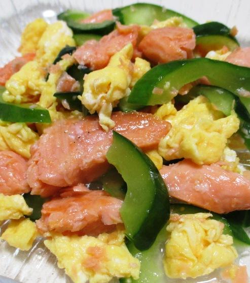 焼き鮭と炒り卵の三倍酢 拡大