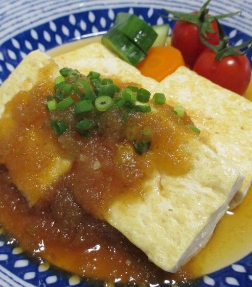 豆腐ステーキ 柚子こしょうオニオンソース 大