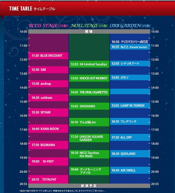 MERRY ROCK PARADE TIME TABLE