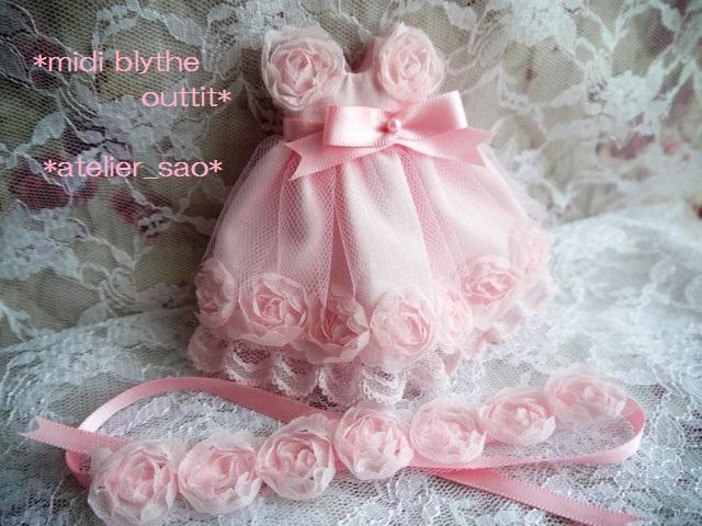 ◆ミディブライス服◆スウィートピンクな薔薇のドレス◇3
