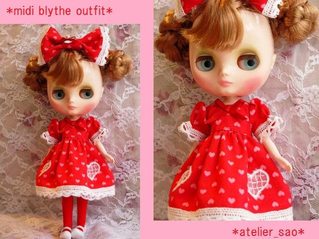 ◆ミディブライス服◆ハート柄ドレス 赤◇1