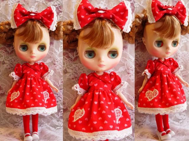 ◆ミディブライス服◆ハート柄ドレス 赤◇2