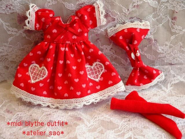 ◆ミディブライス服◆ハート柄ドレス 赤◇3