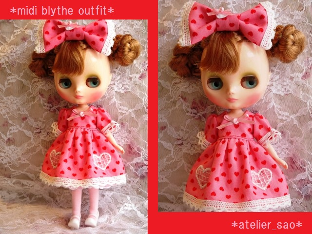 ◆ミディブライス服◆ハート柄ドレス ピンク◇