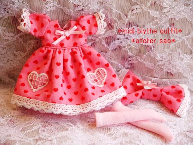 ◆ミディブライス服◆ハート柄ドレス ピンク◇3