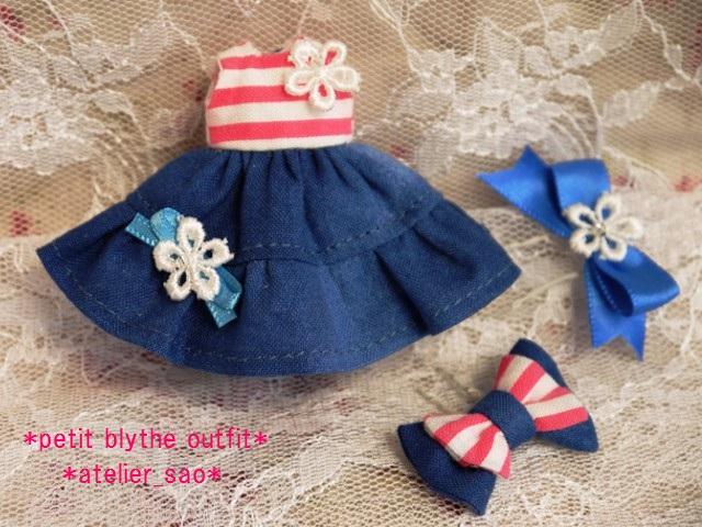 ◆プチブライス服◆ピンクボーダー×ブルー ワンピ◇3
