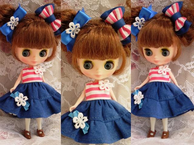 ◆プチブライス服◆ピンクボーダー×ブルー ワンピ◇2