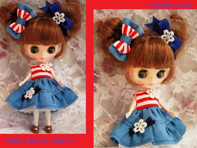 ◆プチブライス服◆赤ボーダー×ブルー ワンピ◇1