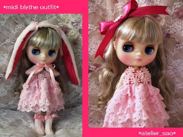 ◆ミディブライス服◆ピンクうさぎと花のドレスset◇2