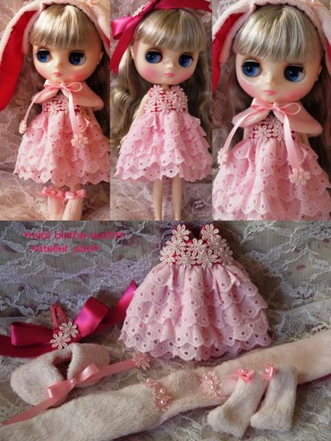 ◆ミディブライス服◆ピンクうさぎと花のドレスset◇1