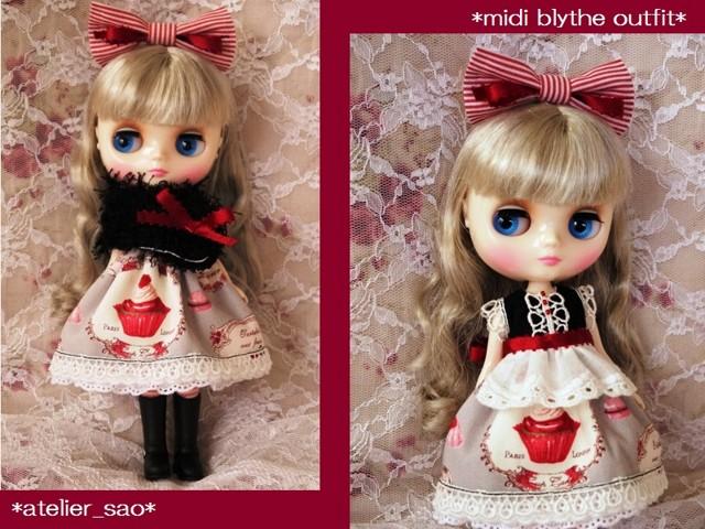 ◆ミディブライス服◆スウィーツ柄☆黒×グレー×赤リボンset◇2