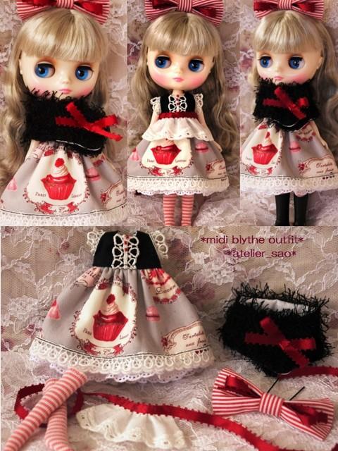 ◆ミディブライス服◆スウィーツ柄☆黒×グレー×赤リボンset◇1