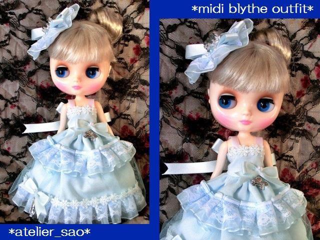◆ミディブライス服◆シンデレラ風ライトブルードレスset◇1