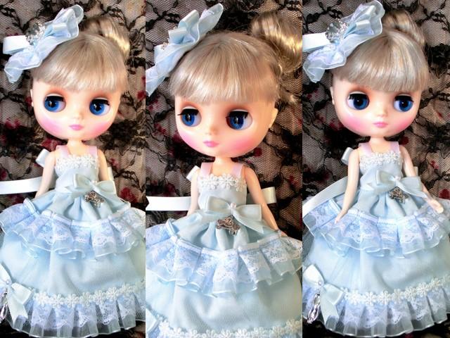 ◆ミディブライス服◆シンデレラ風ライトブルードレスset◇2