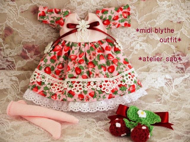 ◆ミディブライス服◆春いちごのドレス◇ピンク◇3