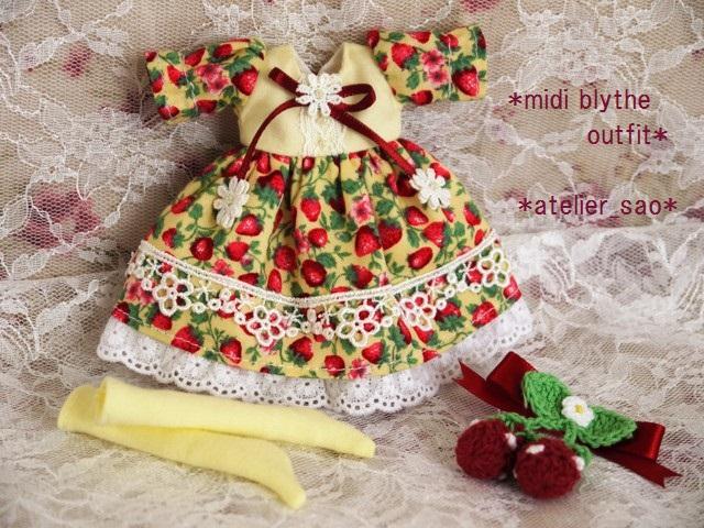 ◆ミディブライス服◆春いちごのドレス◇イエロー◇3