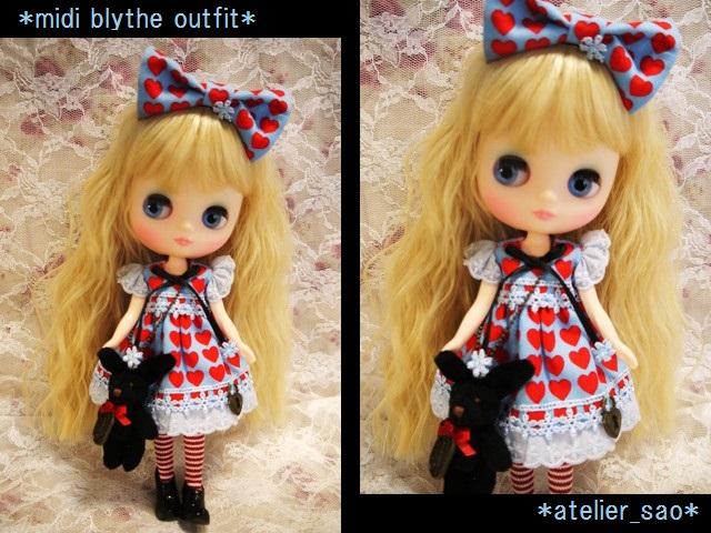 ◆ミディブライス服◆黒うさぎとハートのアリス風ワンピ◇1