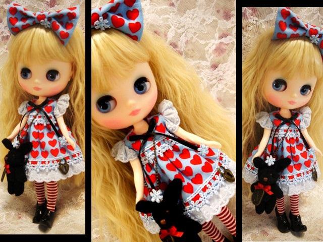 ◆ミディブライス服◆黒うさぎとハートのアリス風ワンピ◇2