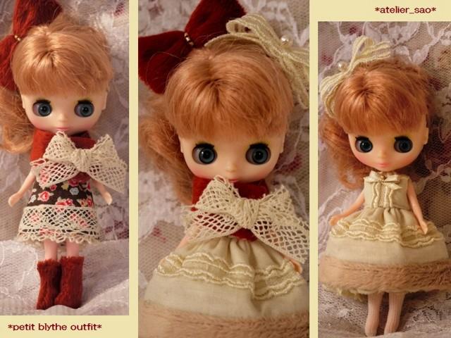 ◆プチブライス服・靴◆茶花柄ワンピ&アイボリードレス1set◇