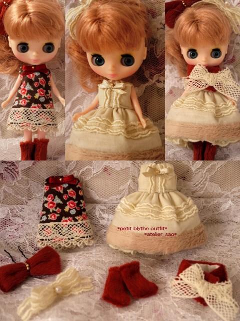 ◆プチブライス服・靴◆茶花柄ワンピ&アイボリードレス2set◇