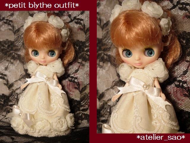 ◆プチブライス服◆アイボリーなバラのドレス◇1