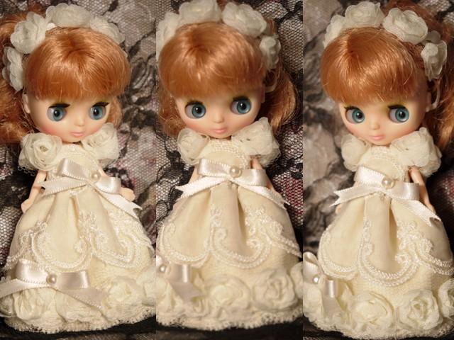 ◆プチブライス服◆アイボリーなバラのドレス◇2