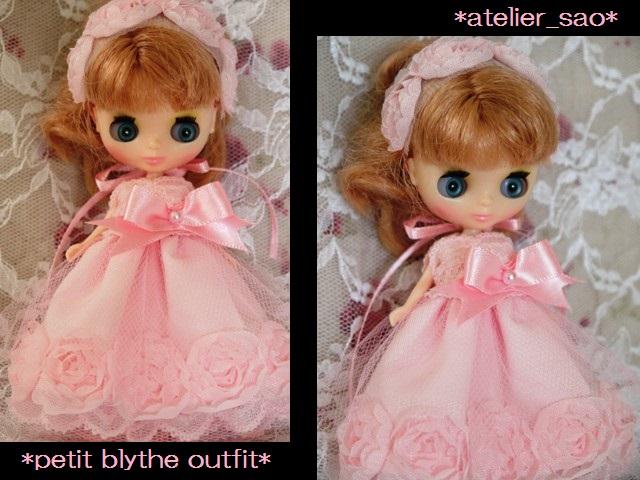 ◆プチブライス服◆スウィートピンクな薔薇のドレス◇1