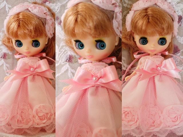 ◆プチブライス服◆スウィートピンクな薔薇のドレス◇2