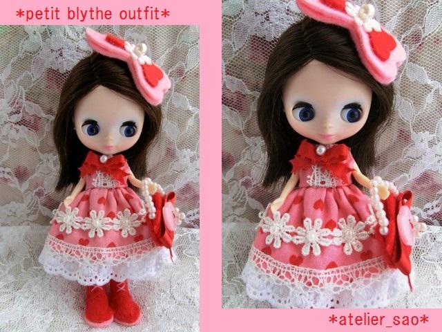 ◆プチブライス服◆花とリボンのハート柄 ピンクドレス◇1