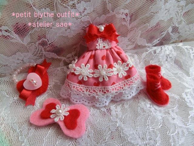 ◆プチブライス服◆花とリボンのハート柄 ピンクドレス◇2