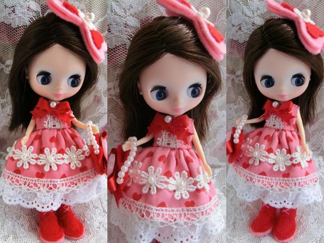 ◆プチブライス服◆花とリボンのハート柄 ピンクドレス◇3