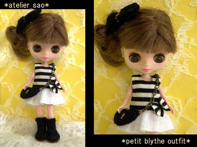 ◆プチブライス服・靴◆白黒ボーダーワンピset◇1