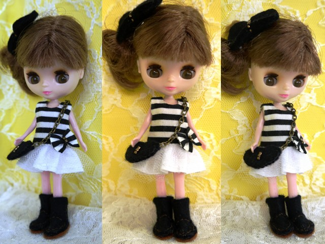 ◆プチブライス服・靴◆白黒ボーダーワンピset◇2