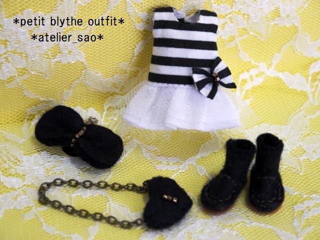 ◆プチブライス服・靴◆白黒ボーダーワンピset◇3