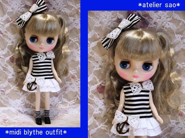 ◆ミディブライス服◆白黒ボーダーワンピ◇1
