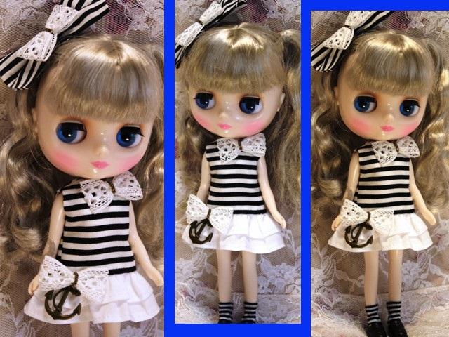 ◆ミディブライス服◆白黒ボーダーワンピ◇2