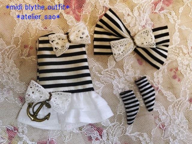 ◆ミディブライス服◆白黒ボーダーワンピ◇3