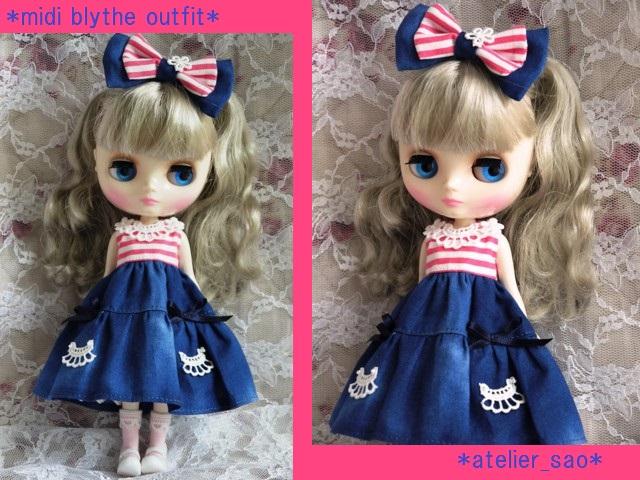 ◆ミディブライス服◆ピンクボーダー×ブルー 夏ワンピ◇1