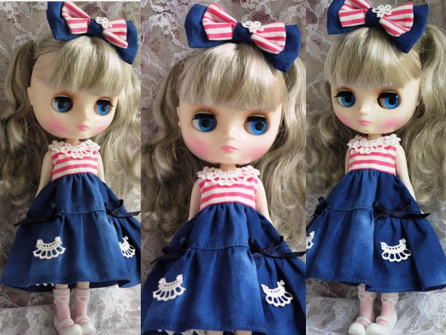 ◆ミディブライス服◆ピンクボーダー×ブルー 夏ワンピ◇2