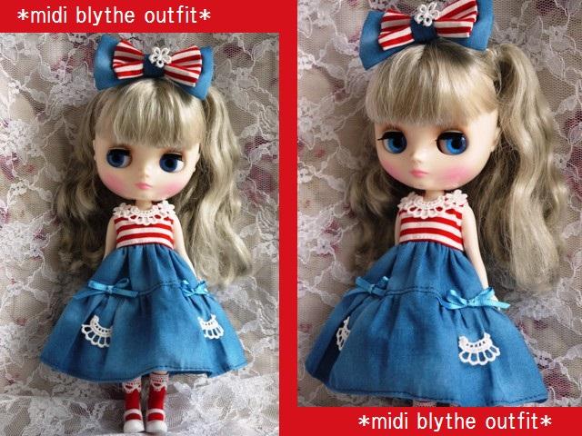 ◆ミディブライス服◆赤ボーダー×ブルー 夏ワンピ◇1