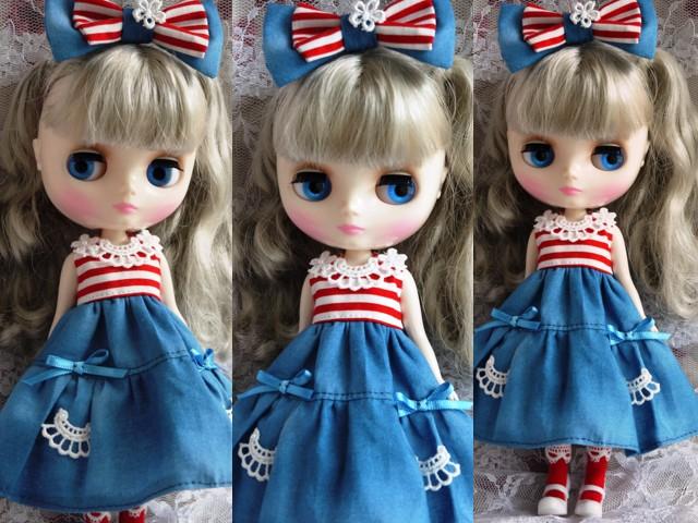 ◆ミディブライス服◆赤ボーダー×ブルー 夏ワンピ◇2