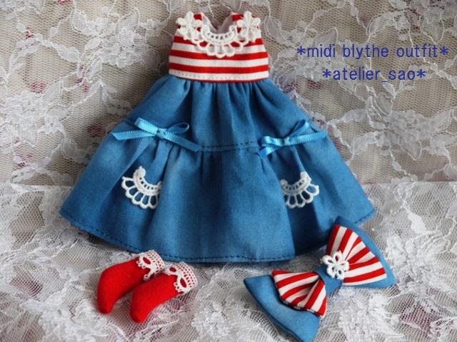◆ミディブライス服◆赤ボーダー×ブルー 夏ワンピ◇3