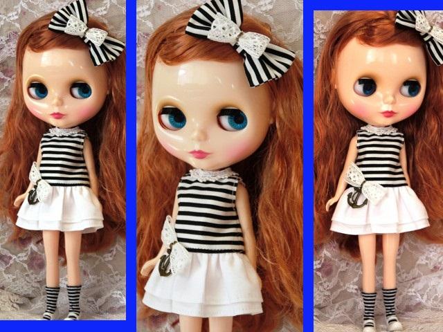 ◆ネオブライス服◆白黒ボーダー☆マリンワンピ◇2